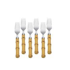 conjunto-com-6-garfos-para-sobremesa-bambu-plastico-18cm-7385-lyor